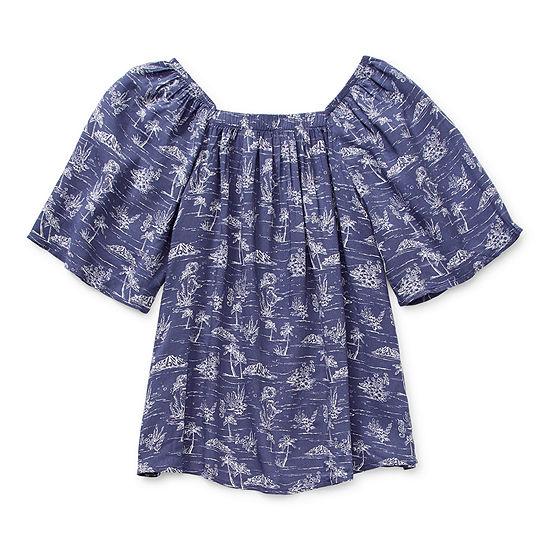 Arizona Little & Big Girls Square Neck Short Sleeve Blouse