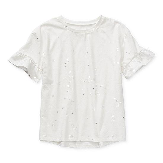 Arizona Little & Big Girls Round Neck Short Sleeve T-Shirt