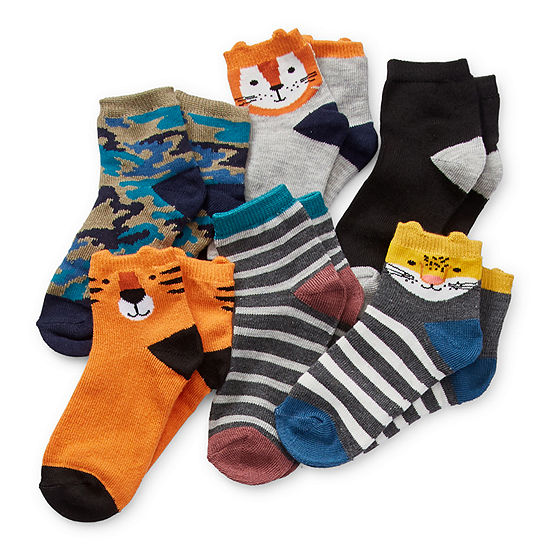 Okie Dokie Toddler Boys 6 Pair Quarter Socks