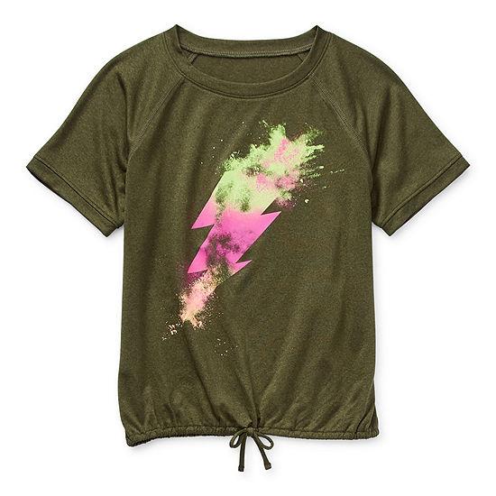 Xersion Little & Big Girls Scoop Neck Short Sleeve T-Shirt