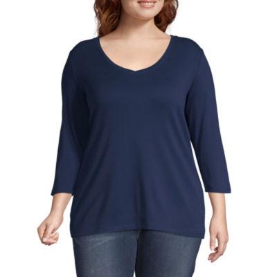 St. John's Bay Plus-Womens Scoop Neck 3/4 Sleeve T-Shirt
