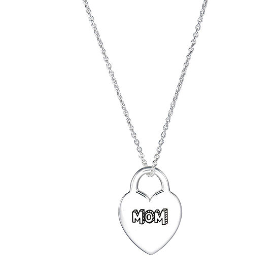 Footnotes Mom Sterling Silver 16 Inch Heart Pendant Necklace
