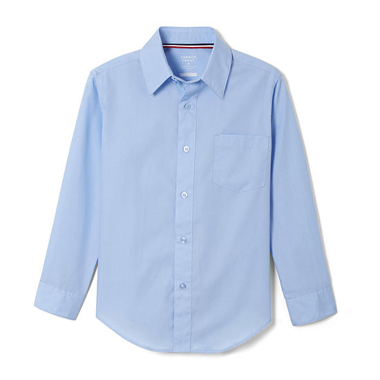 French Toast Long Sleeve Classic Dress Shirt Toddler Boys Point Collar Long Sleeve Wrinkle Resistant Dress Shirt