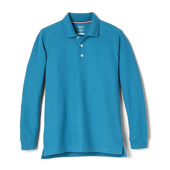 French Toast Long Sleeve Pique Uniform Polo- Boys-Husky