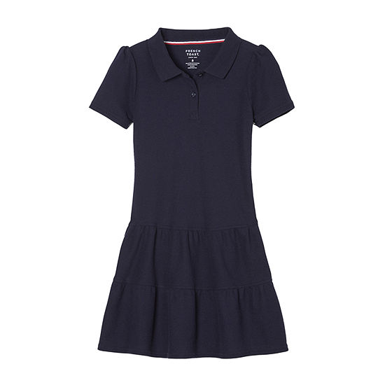 French Toast Little & Big Girls Short Sleeve Fitted Sleeve Shirt Dress
