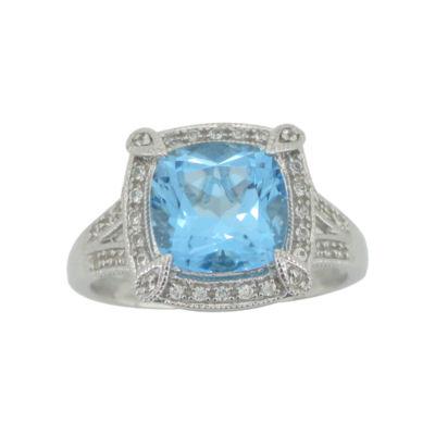 Cushion-Cut Blue Topaz & Lab-Created White Sapphire Ring