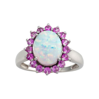 Sterling Silver Lab-Created Opal & Pink Sapphire Ring