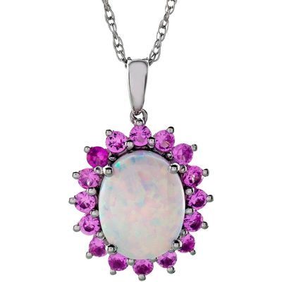 Sterling Silver Lab-Created Opal & Pink Sapphire Pendant Necklace