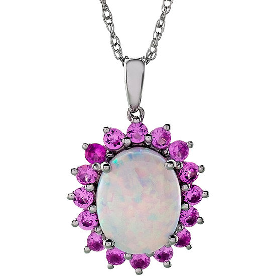 Sterling Silver Lab Created Opal Pink Sapphire Pendant Necklace