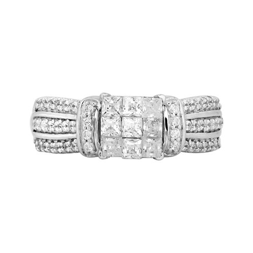 1 CT. T.W. Princess Diamond Engagement Ring in 10K White Gold