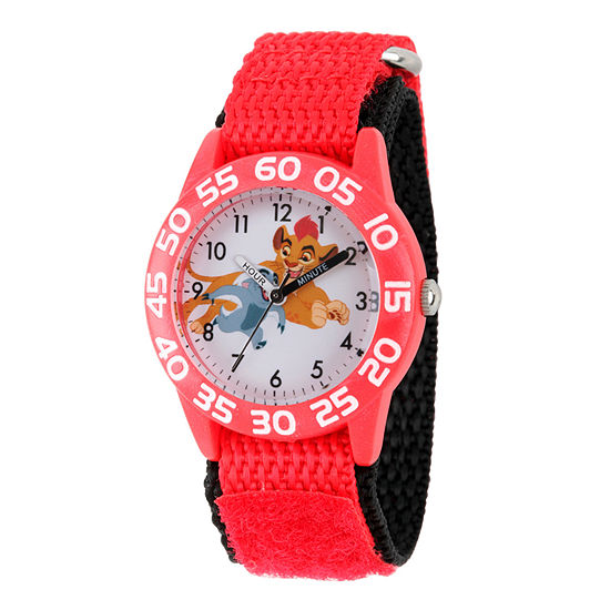 Disney Collection Lion Guard Boys Red And White Nylon Strap Watch