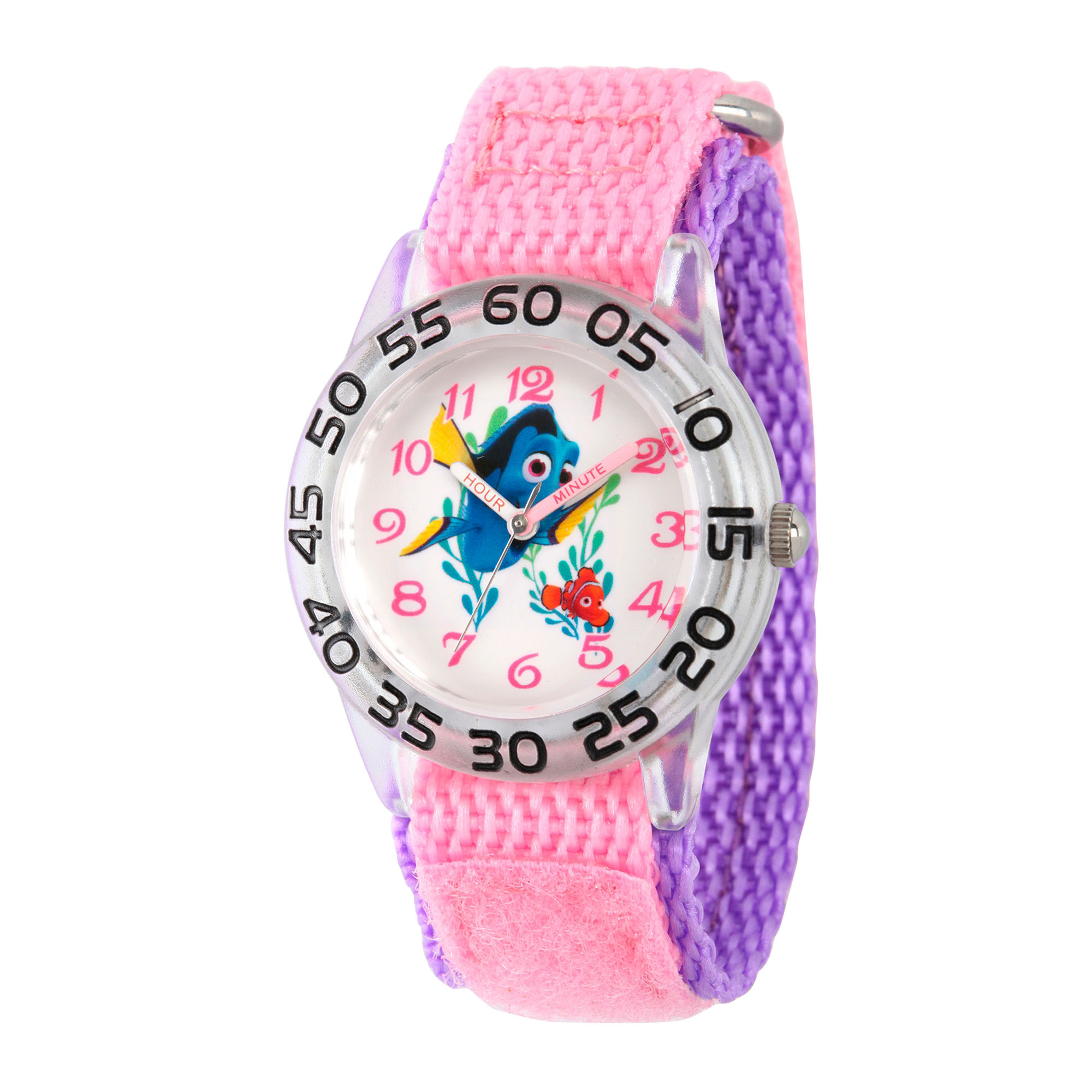 Disney Collection Girls Silver-Tone & Pink Numbered Bezel Finding Dory Watch