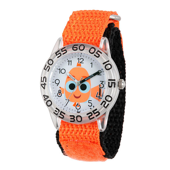 Disney Collection Girls Orange & Silver-Tone Numbered Bezel Finding Dory Watch
