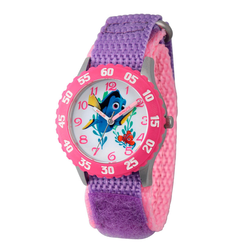 Disney Collection Girls Purple & Pink Numbered Bezel Finding Dory Strap Watch