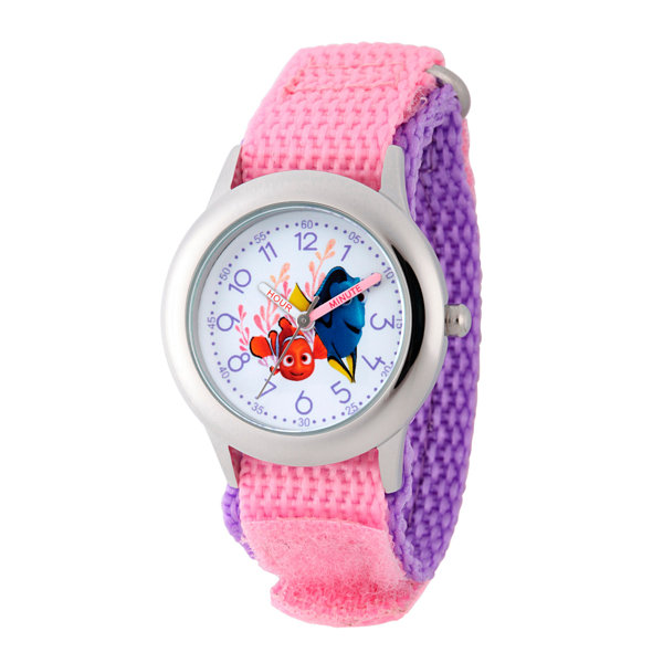 Disney Collection Girls Pink & Silver-Tone Finding Dory Strap Watch