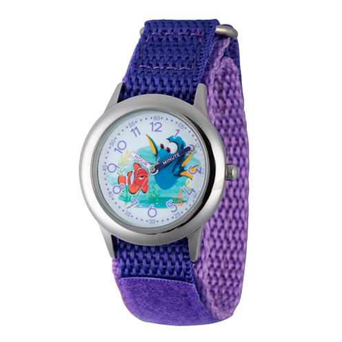 Disney Collection Girls Purple & Silver-Tone Finding Dory Fast Strap Watch