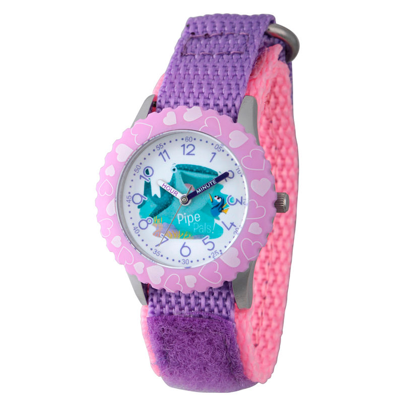 Disney Collection Girls Purple Heart Bezel Finding Dory Strap Watch