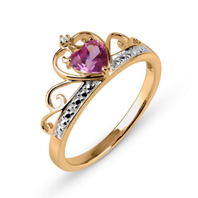 Lab-Created Pink Sapphire and White Sapphire 18K Gold Over Silver Tiara Ring