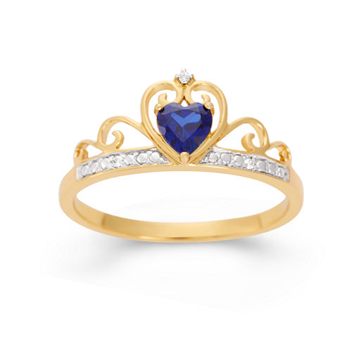 Lab-Created Heart-Shaped Blue Sapphire & Cubic Zirconia 18K Gold Over Silver Ring