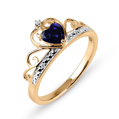 Heart-Shaped Lab-Created Blue Sapphire & Cubic Zirconia 18K Gold Over Silver Ring