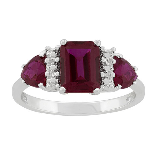 Lab-Created Ruby Sterling Silver Ring
