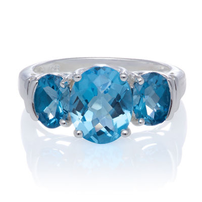 Genuine Blue And White Topaz Sterling Silver 3 Stone Ring