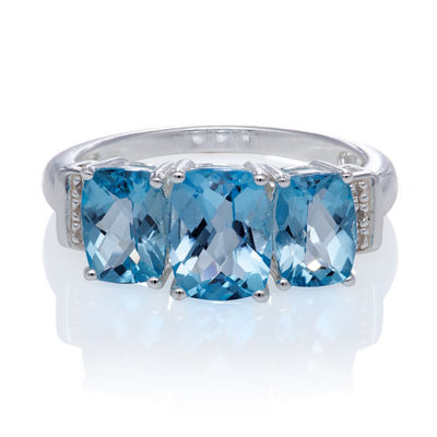 Genuine Blue Topaz And Diamond Accent Sterling Silver 3 Stone Ring