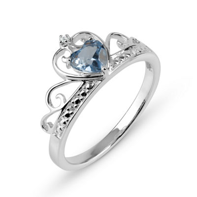 Simulated Blue Topaz & Cubic Zirconia Sterling Silver Ring