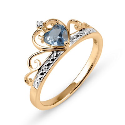 Heart-Shaped Simulated Blue Topaz & Cubic Zirconia 18K Gold Over Silver Ring