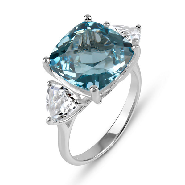 Genuine Sky Blue Topaz And White Topaz Sterling Silver Ring