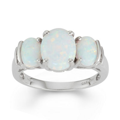 Lab Created Opal & White Topaz Sterling Silver 3 Stone Ring