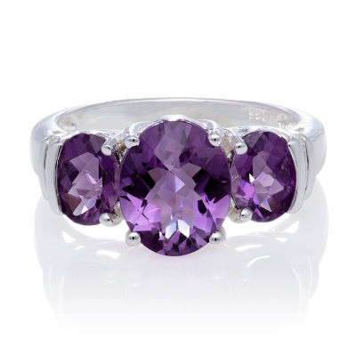 Genuine Amethyst and White Topaz Sterling Silver 3 Stone Ring