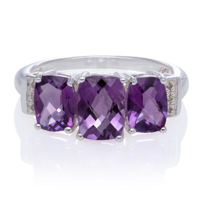 Genuine Amethyst and Diamond Accent Sterling Silver 3 Stone Ring