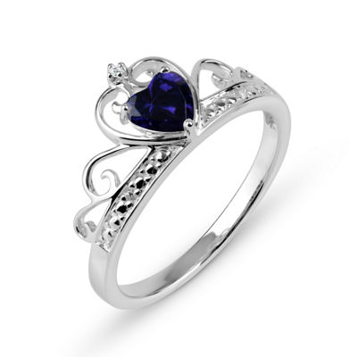Heart-Shaped Simulated Amethyst & Cubic Zirconia Sterling Silver Ring