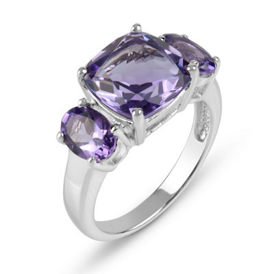 Genuine Amethyst Sterling Silver 3 Stone Ring