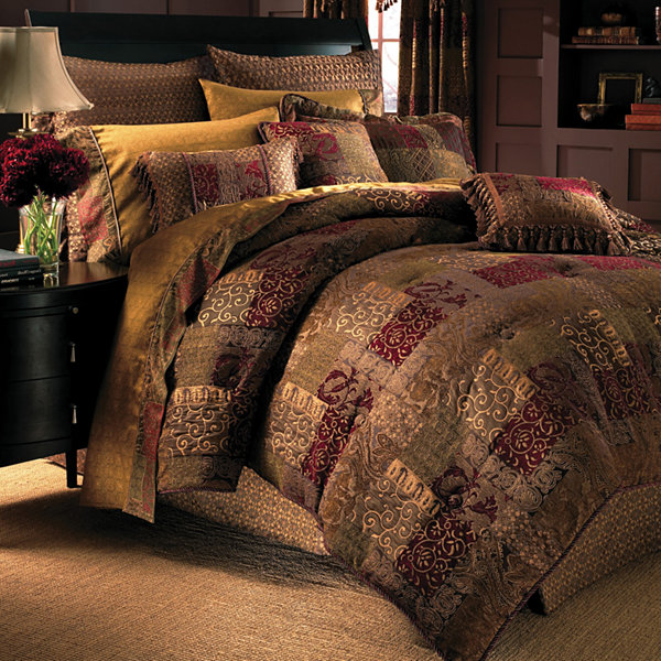 Brown White Olive Green Bedding Set With Matching Curtain Panels