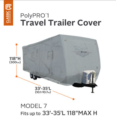Classic Accessories 80-214-201001-00 PolyPro I Travel Trailer Cover, Model 7