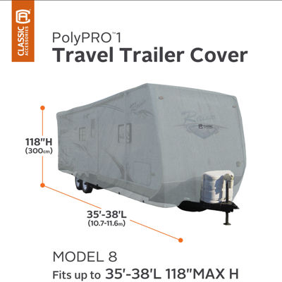 Classic Accessories 80-215-211001-00 PolyPro I Travel Trailer Cover, Model 8