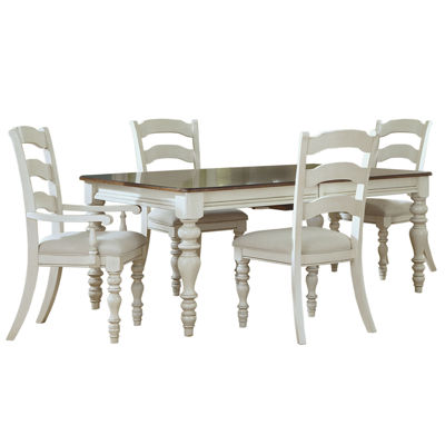 Tucker Hill Wheat Ladder-Back Whitewash Pine Dining Set