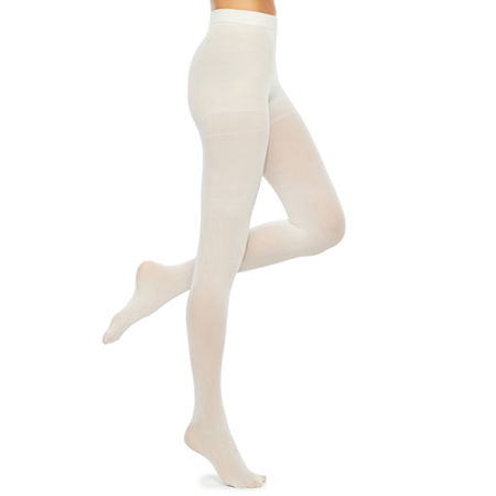 1960s Tights, Stockings, Panty Hose, Knee High Socks Mixit Solid Control Top Opaque Tights Small  White $7.49 AT vintagedancer.com