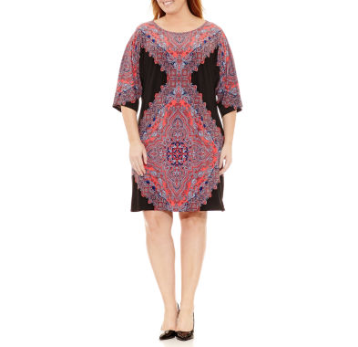 London Times 3/4 Sleeve Medallion Sheath Dress - Plus