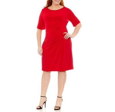 London Times Elbow Sleeve Sheath Dress-Plus