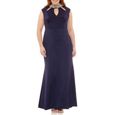 Blu Sage Sleeveless Embellished Evening Gown-Plus