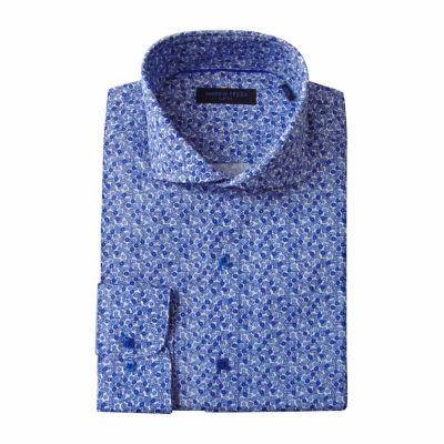 Andrew Fezze Long Sleeve Poplin Floral Dress Shirt - Slim