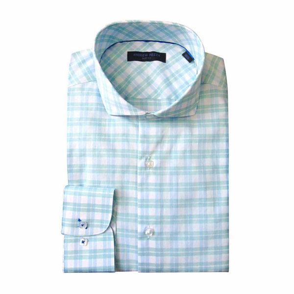 Andrew Fezza Long Sleeve Poplin Pattern Dress Shirt Slim