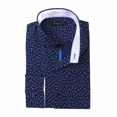 Andrew Fezza Long Sleeve Poplin Pattern Dress Shirt - Slim