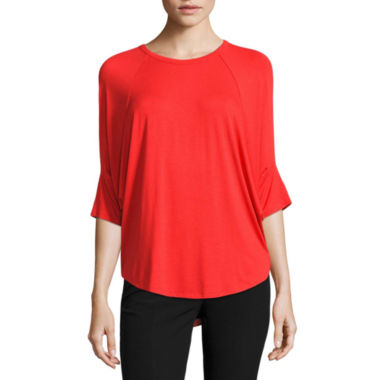 Worthington Elbow Sleeve Round Neck Knit Blouse