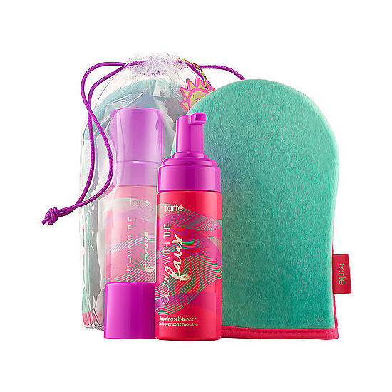 tarte Glow with the Faux Foaming Self-Tanner with Mitt