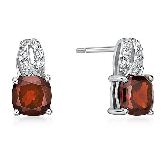 Genuine Red Garnet Sterling Silver 10mm Stud Earrings