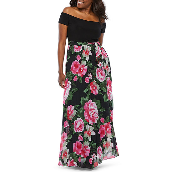 Premier Amour Off The Shoulder Floral Maxi Dress